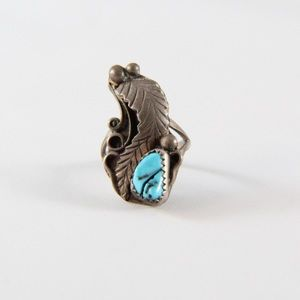 Jewelry - NAVAJO Sterling Turquoise Leaf Ring 5.75
